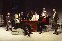 l-r: Richard Warwick (Sir Johnstone Kentley), James Buller (Charles Granillo), Simon Chadwick (Kenneth Raglan), Dawn Keeler (Mrs Debenham), Tristan Gemmill (Wyndham Brandon), Roger Ennals (Sabot - rea...