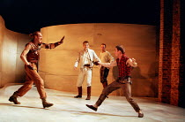 l-r: Keith Dunphy (Tybalt), David Tennant (Romeo), Anthony Howell (Benvolio), Adrian Schiller (Mercutio) in ROMEO AND JULIET by Shakespeare at the Royal Shakespeare Company (RSC), Royal Shakespeare Th...