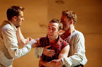 Mercutio wounded - l-r: David Tennant (Romeo), Adrian Schiller (Mercutio), Anthony Howell (Benvolio) in ROMEO AND JULIET by Shakespeare at the Royal Shakespeare Company (RSC), Royal Shakespeare Theatr...