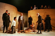 front centre, l-r: Anthony Howell (Benvolio), Ian Hogg (Capulet), Caroline Harris (Lady Capulet), Alfred Burke (Escalus, Prince of Verona) with the body of Mercutio in ROMEO AND JULIET by Shakespeare...