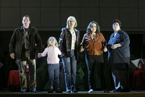 The Time Before - l-r: Andrew Rees (Luke), Isabella Sandor (Offred's daughter), Heather Shipp (Offred), Alison Roddy (Moira), Liane Keegan (Offred's mother) in THE HANDMAID'S TALE at English National...