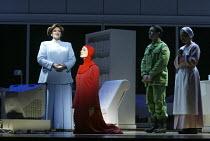l-r: Catherine Wyn-Rogers (Serena Joy), Stephanie Marshall (Offred), Richard Coxon (Nick), Ethna Robinson (Rita) in THE HANDMAID'S TALE at English National Opera (ENO), London Coliseum, London WC2 03/...