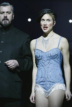 at Jezebels: Stephen Richardson (The Commander), Stephanie Marshall (Offred) in THE HANDMAID'S TALE at English National Opera (ENO), London Coliseum, London WC2 03/04/2003 music: Poul Ruders libretto:...