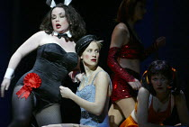 l-r: Alison Roddy (Moira), Stephanie Marshall (Offred) with Jezebel Girls in THE HANDMAID'S TALE at English National Opera (ENO), London Coliseum, London WC2 03/04/2003 music: Poul Ruders libretto: Pa...