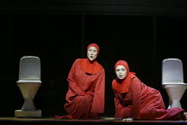 l-r: Stephanie Marshall (Offred), Alison Roddy (Moira) in THE HANDMAID'S TALE at English National Opera (ENO), London Coliseum, London WC2 03/04/2003 music: Poul Ruders libretto: Paul Bentley after th...