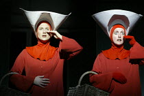 l-r: Stephanie Marshall (Offred), Rebecca de Pont Davies (Ofglen) in THE HANDMAID'S TALE at English National Opera (ENO), London Coliseum, London WC2 03/04/2003 music: Poul Ruders libretto: Paul Bentl...