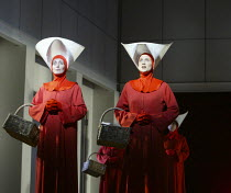 l-r: Rebecca de Pont Davies (Ofglen), Stephanie Marshall (Offred) in THE HANDMAID'S TALE at English National Opera (ENO), London Coliseum, London WC2 03/04/2003 music: Poul Ruders libretto: Paul Bentl...