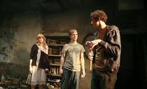 l-r: Emily Beecham (Miranda), Robert Boulter (Will), Al Weaver (Nick) in HOW TO CURSE by Ian McHugh at the Bush Theatre, London W12 16/10/2007 design: Christopher Oram lighting: Hartley T A Kemp direc...