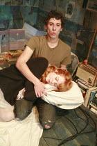 Al Weaver (Nick), Emily Beecham (Miranda) in HOW TO CURSE by Ian McHugh at the Bush Theatre, London W12 16/10/2007 design: Christopher Oram lighting: Hartley T A Kemp director: Josie Rourke