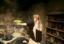 Robert Boulter (Will), Emily Beecham (Miranda) in HOW TO CURSE by Ian McHugh at the Bush Theatre, London W12 16/10/2007 design: Christopher Oram lighting: Hartley T A Kemp director: Josie Rourke