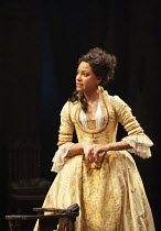 Cush Jumbo (Constance Neville) in SHE STOOPS TO CONQUER by Oliver Goldsmith at the Olivier Theatre, National Theatre (NT), London SE1 31/01/2012 design: Mark Thompson lighting: Neil Austin director: J...