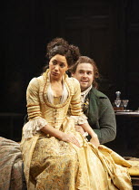 Cush Jumbo (Constance Neville), David Fynn (Tony Lumpkin) in SHE STOOPS TO CONQUER by Oliver Goldsmith at the Olivier Theatre, National Theatre (NT), London SE1 31/01/2012 design: Mark Thompson lighti...