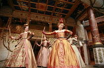 l-r: Gemma Arterton (Rosaline), Cush Jumbo (Maria), Michelle Terry (Princess of France), Andrew Vincent (Dull) in LOVE'S LABOUR'S LOST by Shakespeare at Shakespeare's Globe, London SE1 11/07/2007 desi...