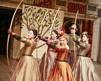 l-r: Gemma Arterton (Rosaline), Cush Jumbo (Maria), Michelle Terry (Princess of France), Andrew Vincent (Dull), Oona Chaplin (Katherine) in LOVE'S LABOUR'S LOST by Shakespeare at Shakespeare's Globe,...