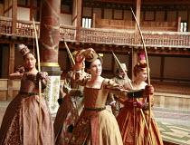 front, l-r: Cush Jumbo (Maria), Gemma Arterton (Rosaline), Michelle Terry (Princess of France) in LOVE'S LABOUR'S LOST by Shakespeare at Shakespeare's Globe, London SE1 11/07/2007 design: Jonathan Fen...