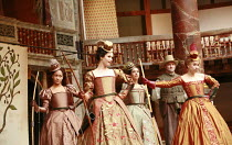l-r: Cush Jumbo (Maria), Gemma Arterton (Rosaline), Oona Chaplin (Katherine), Andrew Vincent (Dull), Michelle Terry (Princess of France) in LOVE'S LABOUR'S LOST by Shakespeare at Shakespeare's Globe,...