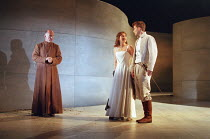 l-r: Des McAleer (Friar Lawrence), Alexandra Gilbreath (Juliet). David Tennant (Romeo) in ROMEO AND JULIET by Shakespeare at the Royal Shakespeare Company (RSC), Royal Shakespeare Theatre, Stratford-u...