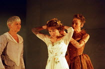 l-r: Eileen McCallum (Nurse), Alexandra Gilbreath (Juliet), Caroline Harris (Lady Capulet) in ROMEO AND JULIET by Shakespeare at the Royal Shakespeare Company (RSC), Royal Shakespeare Theatre, Stratfo...