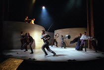 street fighting - top left: Caroline Harris (Lady Capulet), Ian Hogg (Capulet) in ROMEO AND JULIET by Shakespeare at the Royal Shakespeare Company (RSC), Royal Shakespeare Theatre, Stratford-upon-Avon...