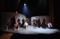 street scene - top left: Eileen McCallum (Nurse) front, l-r: Nicholas Khan (Paris), Caroline Harris (Lady Capulet), Ian Hogg (Capulet), Alfred Burke (Escalus, Prince of Verona), Vincent Brimble (Monta...