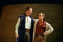 l-r: Anthony Howell (Benvolio), Adrian Schiller (Mercutio) in ROMEO AND JULIET by Shakespeare at the Royal Shakespeare Company (RSC), Royal Shakespeare Theatre, Stratford-upon-Avon 05/07/2000 music: S...