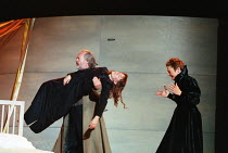 carrying Juliet's 'lifeless' body - l-r: Ian Hogg (Capulet), Alexandra Gilbreath (Juliet), Caroline Harris (Lady Capulet) in ROMEO AND JULIET by Shakespeare at the Royal Shakespeare Company (RSC), Roy...