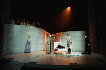 gathered around Juliet's 'lifeless' body - l-r: Eileen McCallum (Nurse), Ian Hogg (Capulet), Des McAleer (Friar Lawrence), Alexandra Gilbreath (Juliet), Nicholas Khan (Paris), Caroline Harris (Lady Ca...