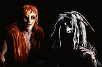 Philip Langridge (Orpheus Man), Marie Angel (The Oracle of the Dead) in THE MASK OF ORPHEUS at the English National Opera (ENO), London Coliseum 21/05/1986 music: Harrison Birtwistle libretto: Peter Z...