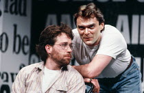 l-r: Tom Hulce (Ned Weeks), Stuart Milligan (Tommy Boatwright) in THE NORMAL HEART by Larry Kramer at the Albery Theatre, London WC2 20/05/1986 a Royal Court Theatre production design: Geoff Rose ligh...