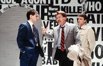 l-r: Stuart Fox (David), Martin Sheen (Ned Weeks), John Terry (Bruce Niles) in THE NORMAL HEART by Larry Kramer at the Royal Court Theatre, London SW1 20/03/1986 design: Geoff Rose lighting: Gerry Jen...