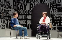 Paul Jesson (Felix Turner), Frances Tomelty (Dr Emma Brookner) in THE NORMAL HEART by Larry Kramer at the Royal Court Theatre, London SW1 20/03/1986 design: Geoff Rose lighting: Gerry Jenkinson direct...