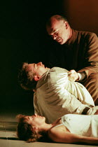 Friar Lawrence discovers the bodies of Romeo and Juliet: David Tennant (Romeo), Alexandra Gilbreath (Juliet), Des McAleer (Friar Lawrence) in ROMEO AND JULIET by Shakespeare at the Royal Shakespeare C...