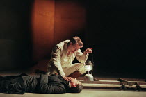 Romeo with the body of Paris: David Tennant (Romeo), Nicholas Khan (Paris) in ROMEO AND JULIET by Shakespeare at the Royal Shakespeare Company (RSC), Royal Shakespeare Theatre, Stratford-upon-Avon 05/...