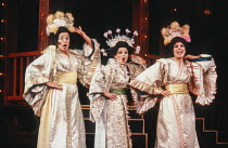 Three Little Maids - l-r: Linda-Jean Barry (Peep-Bo, Stella Goodier (Yum-Yum), Andrea Levine (Pitti-Sing) in THE MIKADO by Gilbert & Sullivan at the Cambridge Theatre, London WC2 28/09/1982 a Plymouth...