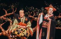 Eric Donkin (Ko-Ko), Christina James (Katisha) in THE MIKADO by Gilbert & Sullivan at The Old Vic, London SE1 29/02/1984 a Stratford Festival Canada production set design: Susan Benson & Douglas McLea...