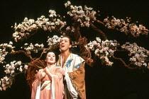 Marie Baron (Yum-Yum), John Keane (Nanki-Poo) in THE MIKADO by Gilbert & Sullivan at The Old Vic, London SE1 29/02/1984 a Stratford Festival Canada production set design: Susan Benson & Douglas McLean...