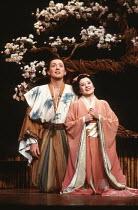 John Keane (Nanki-Poo), Marie Baron (Yum-Yum) in THE MIKADO by Gilbert & Sullivan at The Old Vic, London SE1 29/02/1984 a Stratford Festival Canada production set design: Susan Benson & Douglas McLean...