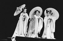 Three Little Maids - l-r: Karen Wood (Pitti-Sing), Marie Baron (Yum-Yum), Karen Skidmore (Peep-Bo) in THE MIKADO by Gilbert & Sullivan at The Old Vic, London SE1 29/02/1984 a Stratford Festival Canada...