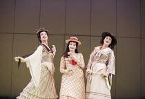 Three Little Maids - l-r: Maria Jones (Pitti-Sing), Jacqueline Varsey (Yum-Yum), Sophie Louise Dann (Peep-Bo) in THE MIKADO by Gilbert & Sullivan at Savoy Theatre, London WC2 21/09/2000 a D'Oyly Cart...