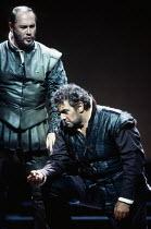l-r: Sergei Leiferkus (Iago), Placido Domingo (Otello) in OTELLO by Verdi at the The Royal Opera, Covent Garden, London WC2 23/10/1992 music: Giuseppe Verdi libretto: Arrigo Boito after Shakespeare's...