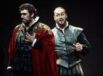 l-r: Placido Domingo (Otello), Sergei Leiferkus (Iago) in OTELLO by Verdi at the The Royal Opera, Covent Garden, London WC2 23/10/1992 music: Giuseppe Verdi libretto: Arrigo Boito after Shakespeare's...