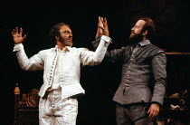 l-r: Donald Sinden (Othello), Bob Peck (Iago) in OTHELLO by Shakespeare at the Royal Shakespeare Company (RSC), Royal Shakespeare Theatre, Stratford-upon-Avon 07/08/1979 design: Pamela Howard lighting...