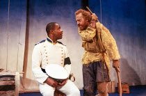 l-r: Paterson Joseph (Neoptolomos), Keith Bartlett (Philoctetes) in PHILOCTETES by Sophocles at the Donmar Warehouse, London WC2 02/12/1988 a Cheek by Jowl production translated by Kenneth McLeish des...