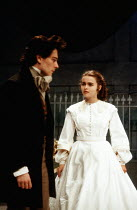 Gerard Logan (Walter Hartright), Helena Bonham-Carter (Anne Catherick / Laura Fairlie) in THE WOMAN IN WHITE by Melissa Murray at the Greenwich Theatre, London SE10 05/12/1988 based on the novel by Wi...