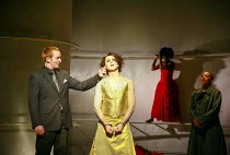 l-r: Tony Curran (Pentheus), Alan Cumming (Dionysus), Jessika Williams (Bacchae woman) in THE BACCHAE by Euripides at the Lyric Hammersmith, London W6 07/09/2007 a National Theatre of Scotland product...