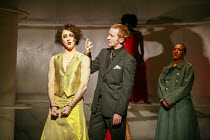 l-r: Alan Cumming (Dionysus), Tony Curran (Pentheus), Jessika Williams (Bacchae woman) in THE BACCHAE by Euripides at the Lyric Hammersmith, London W6 07/09/2007 a National Theatre of Scotland product...