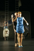 Robert Lucskay (Dionysus), Eva Magyar (Agave) in THE BACCHAE by Euripides at the West Yorkshire Playhouse, Leeds, England 30/09/2004 a Kneehigh Theatre production text: Carl Grose & Annamarie Murphy d...