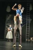 Eva Magyar (Agave), Robert Lucskay (Dionysus) in THE BACCHAE by Euripides at the West Yorkshire Playhouse, Leeds, England 30/09/2004 a Kneehigh Theatre production text: Carl Grose & Annamarie Murphy d...