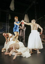 centre: Eva Magyar (Agave), Robert Lucskay (Dionysus) with the Bacchae chorus in THE BACCHAE by Euripides at the West Yorkshire Playhouse, Leeds, England 30/09/2004 a Kneehigh Theatre production text:...