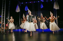 the Bacchae chorus in THE BACCHAE by Euripides at the West Yorkshire Playhouse, Leeds, England 30/09/2004 a Kneehigh Theatre production text: Carl Grose & Annamarie Murphy design: Bill Mitchell direct...